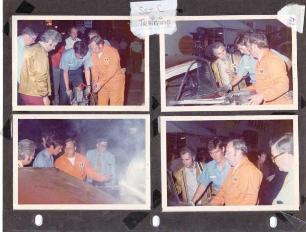 Dick Otte (in the orange coveralls) teaching actor Randolph Mantooth how the Jaws of Life works on the set of Emergency! in June of 1972