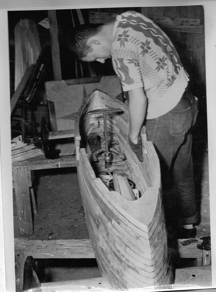 Dick Otte building his best and final Soap Box Racer in 1951