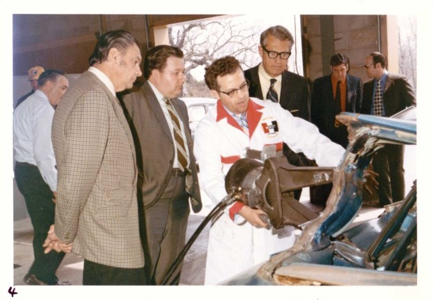 An early prototype of the Hurst Power Tool (aka Jaws of LIfe) demonstration at Hurst Headquarters in Warrington, PA, circa 1971. Pictured at left is George Hurst.