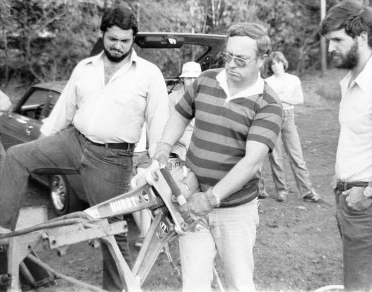 "Jaws of Life demonstration circa 1976. (That's me just beyond my dad's left shoulder...I tagged along whenever I could.) By this time, very few (if any) had logged as many hours demonstrating and training others on the Jaws as Dick Otte had. He had built a reputation as ...""the fastest can opener in the country..."""