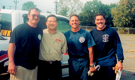 Bill Hickerson (Power Hawk inventor), Gary Wan, Dennis Amodia, and Dennis Mojica at a Curtiss-Wright Power Hawk training seminar