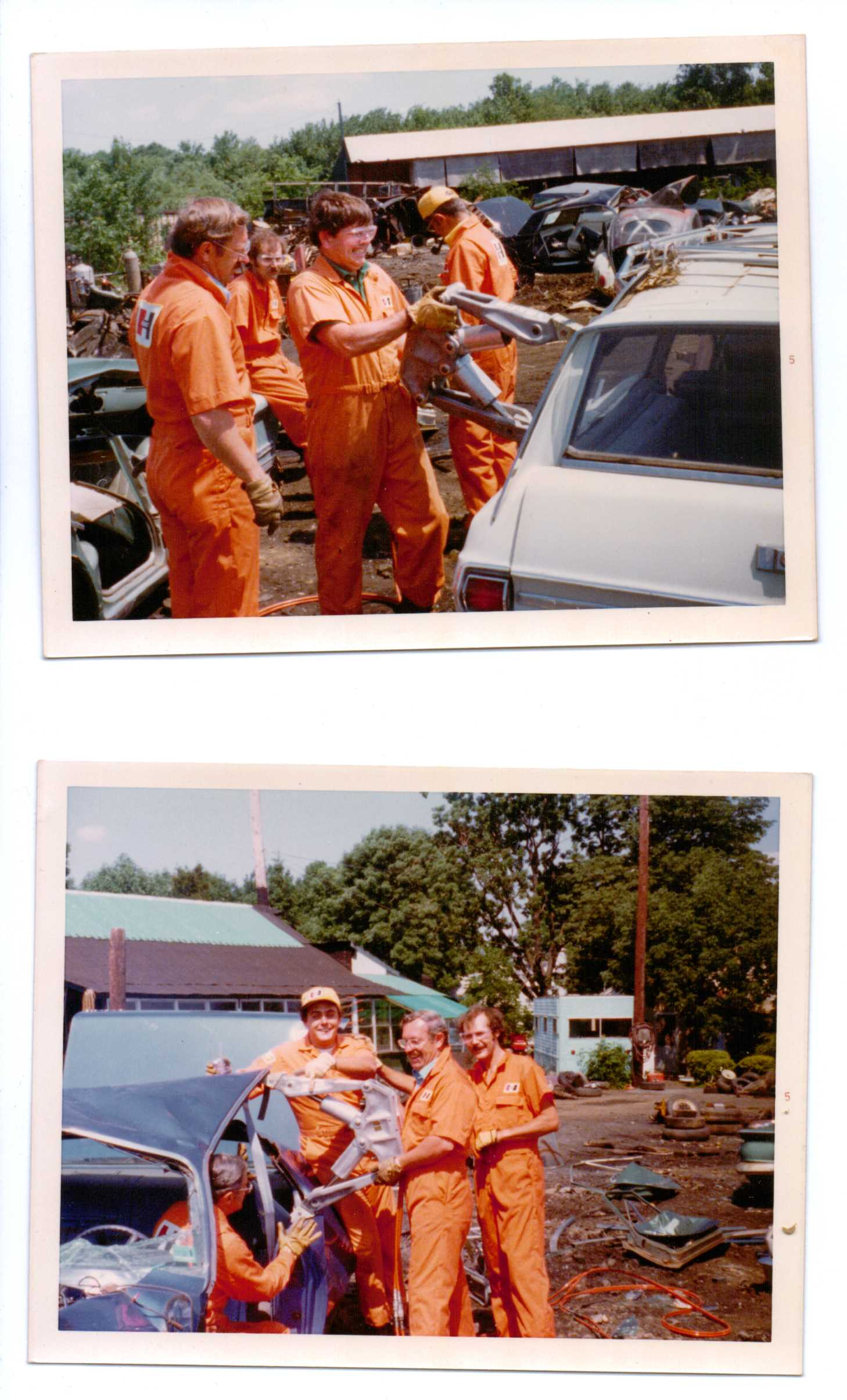Training the sales and distribution team. Dick Otte (top: at left) and (bottom: in center holding the tool). Training was always serious business, and saving lives was most often a gruesome task, but Dick believed in taking time for fun whenever possible.