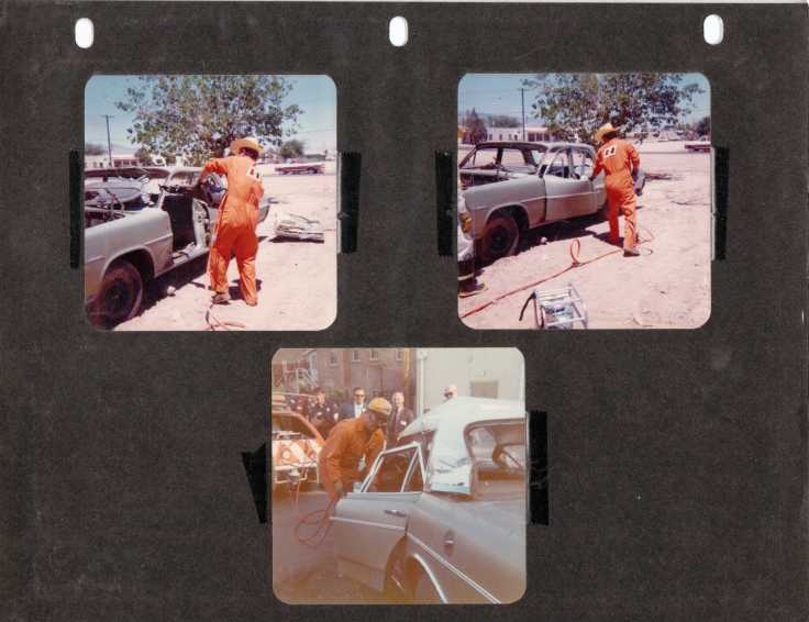 "Photos I took circa 1974-75 of Dick Otte during ""fire house"" calls...demonstrating the Jaws of Life on a southwest sales trip"