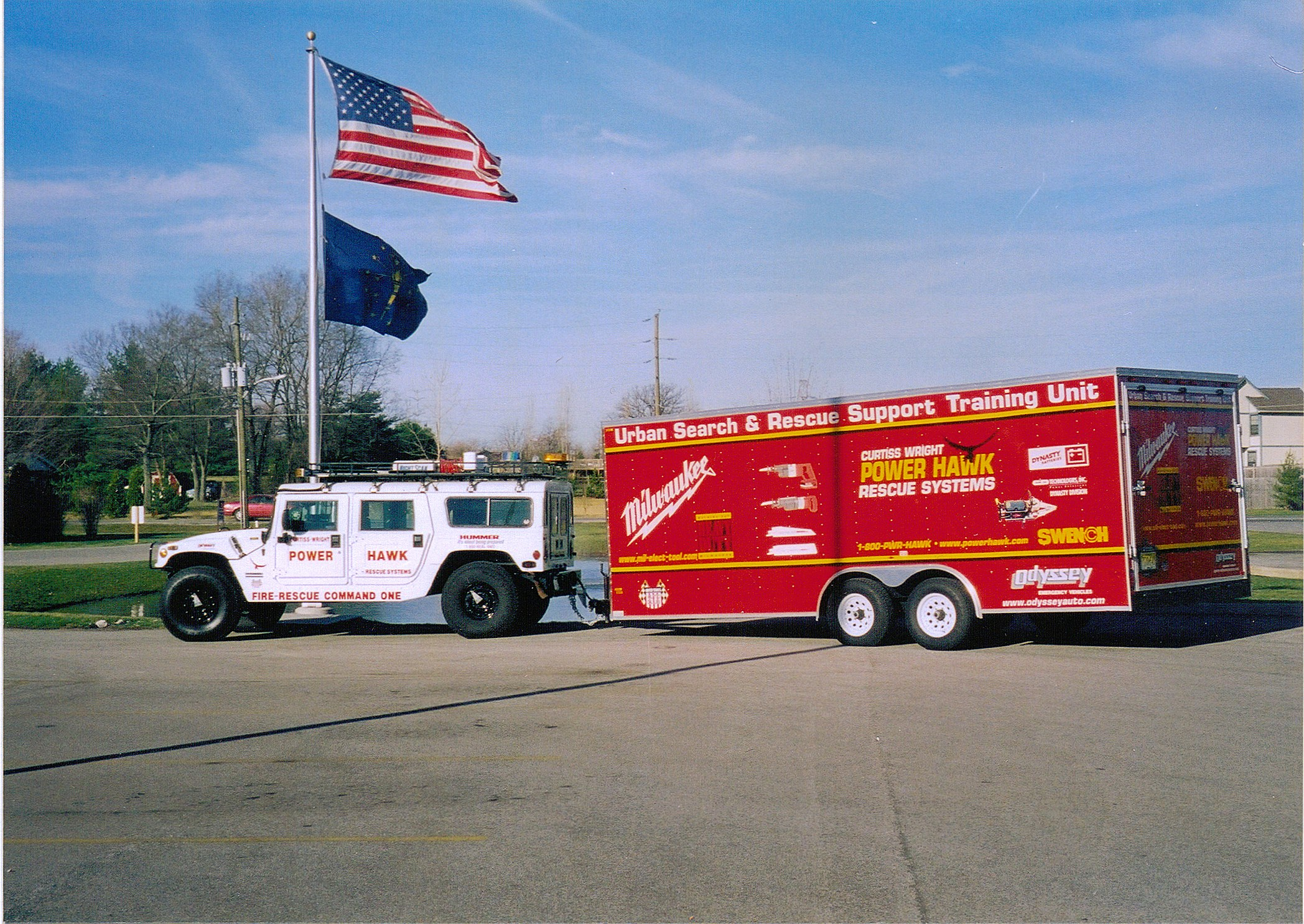 "Curtiss Wright's Power Hawk Rescue System- Urban Search and Rescue Support Training Unit. The ""next generation"" Jaws-type tool could go places no other tool could...the Power Hawk system was officially introduced to the Fire Market at the 1994 FDIC in Cincinnati, Ohio"