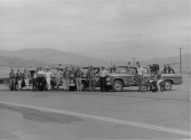 Dick Otte (center in plaid shirt and baseball cap) with one of his early Rescue Crews at Riverside Raceway. In year one he had 3 men and 1 truck, within two years he'd grown it to 75 men and 10 trucks. Soon he would develop specialized equipment like the first ever fire-rescue dune buggy. He'd serve as Safety Director at Riverside for 9 years.