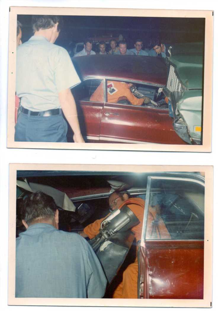 """On the set of Emergency! in June 1972: the actors looks on as Dick Otte uses the Jaws of Life during filming of the """"Peace Pipe"""" episode"""