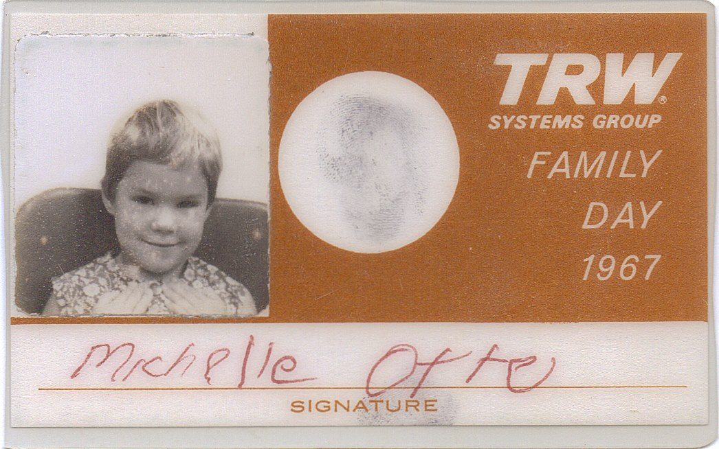 "From my own collection: my ""family day"" ID card issued for a visit at the Space Technology Laboratories in Redondo Beach. Fire Suppression Systems on Space Rockets were of primary concern after the Apollo 1 tragedy that year. My memories of a day spent at ""Space Park"" rival those of TRW's private family day at Disneyland."