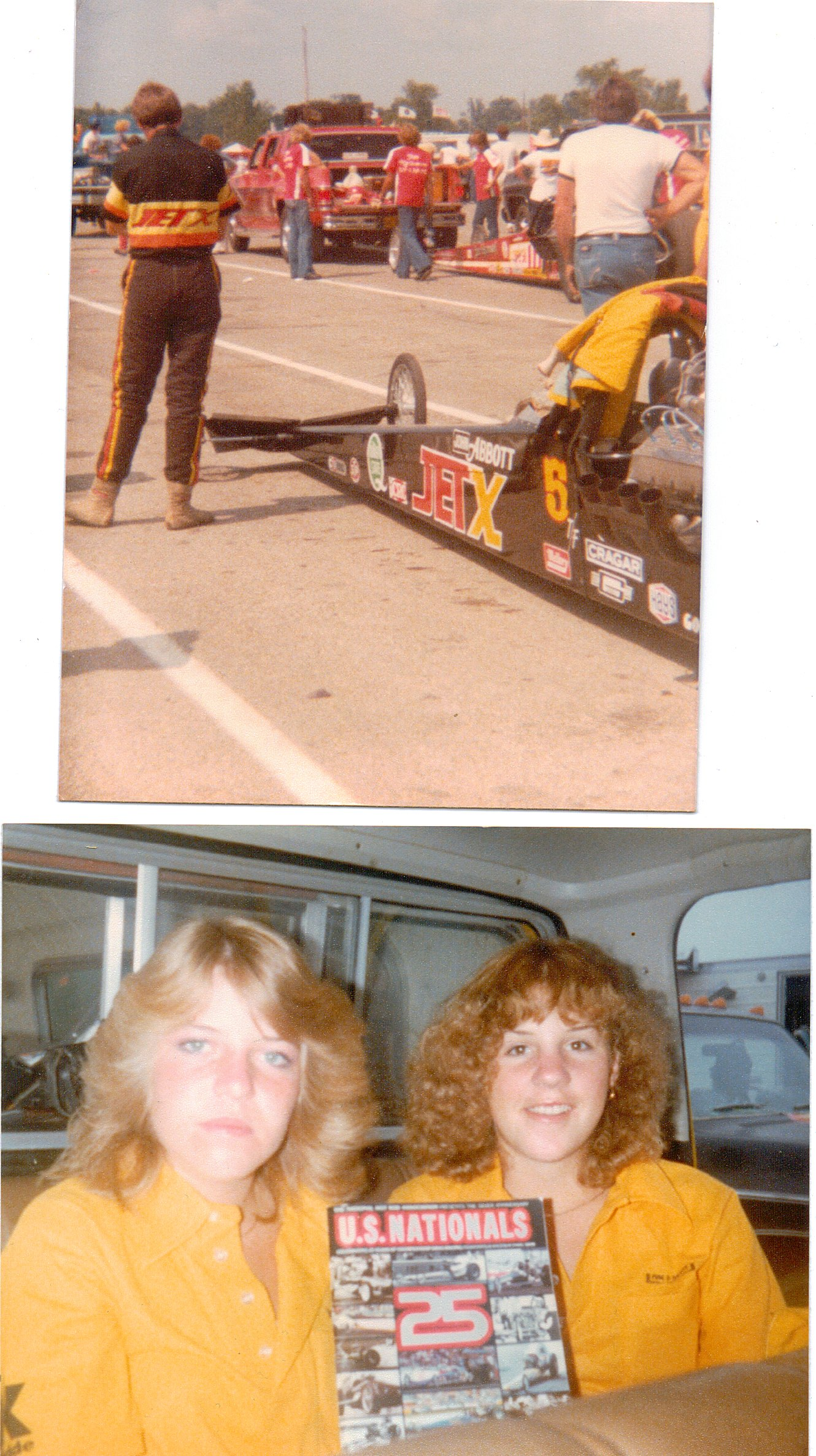 John Abbott's Jet-X Top Fuel Dragster. He made it to the finals of the U.S. Nationals at Indianapolis Raceway Park (1979). Between rounds...and hanging out in the truck in our crew shirts... (that's me on the right!)