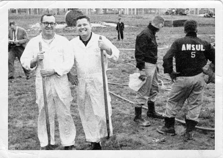 Dick Otte and Mike Brick on the job at Ansul circa 1963...it looks like Mike is wearing a pair of Dick's overalls if you look at the name badge