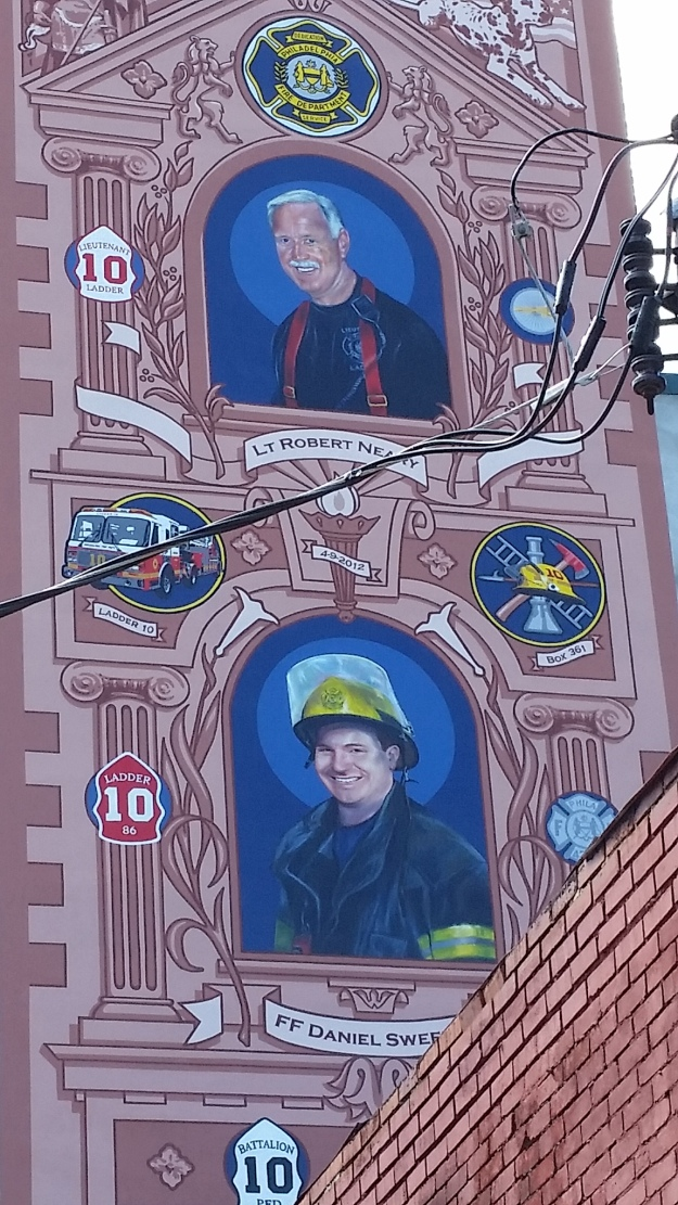 Street view of the mural dedicated to firefighters Robert Neary and Daniel Sweeny